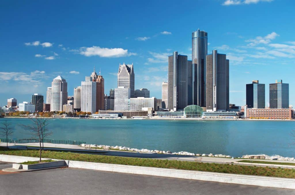 Image: downtown Detroit across the water