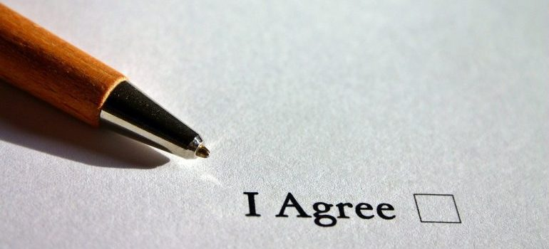 A pen on a paper of agreement