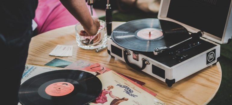 Vinyl and record player.