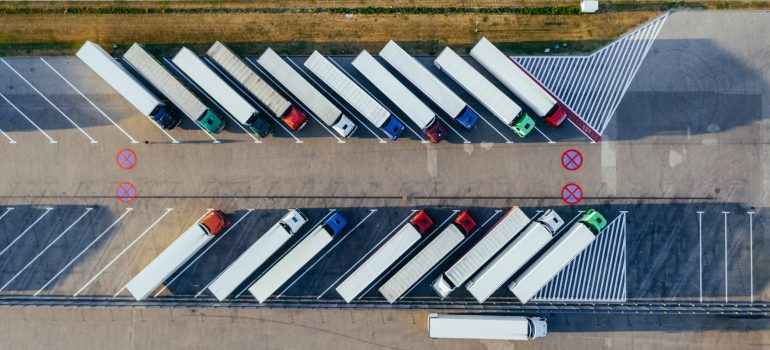 a parking lot full of trucks
