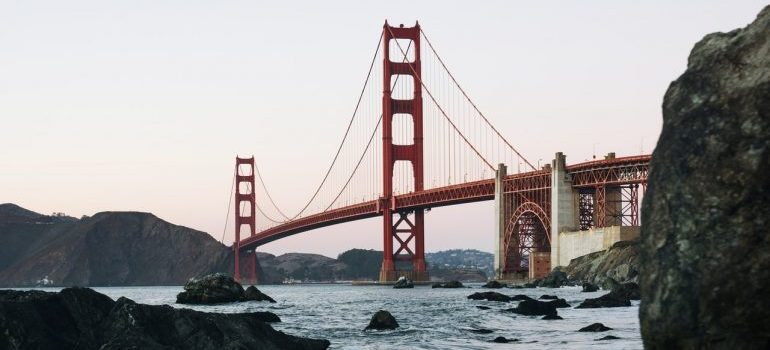The Golden Gate bridge viewed from the river.
